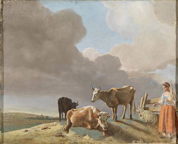 Jean Etienne Liotard Wall Art - Drawing - Landscape With Cows, Sheep And Shepherdess by Jean-Etienne Liotard