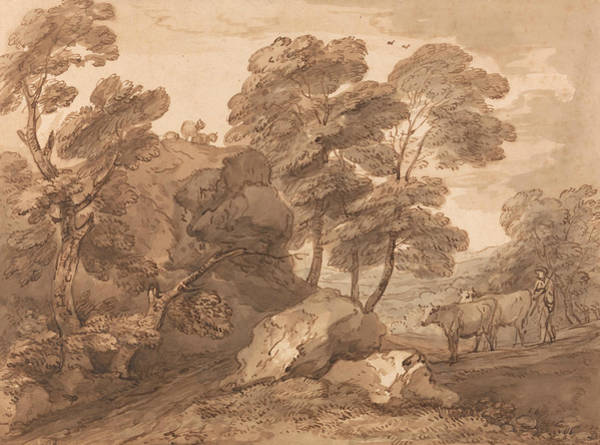 Drawing - Landscape With Cows by Thomas Gainsborough