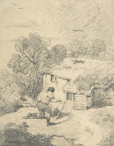Wall Art - Drawing - Landscape With Figure by George Morland