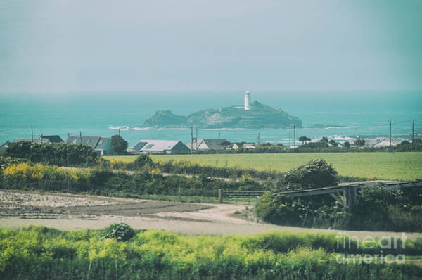 Photograph - landscape with Godrevy Lighthouse  by Ariadna De Raadt