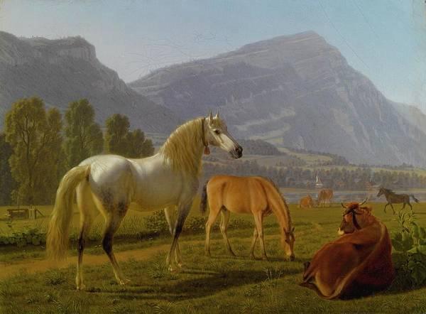 Winterthur Wall Art - Painting - Landscape With Horses by Johan Jakob