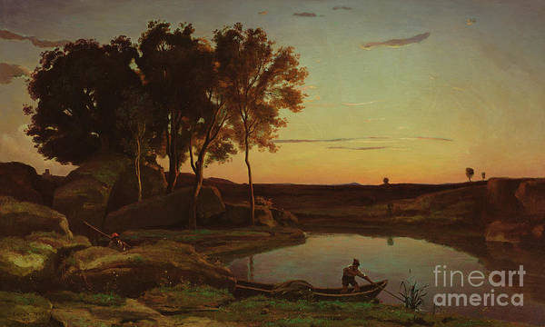 Wall Art - Painting - Landscape With Lake And Boatman, 1839 by Jean Baptiste Camille Corot