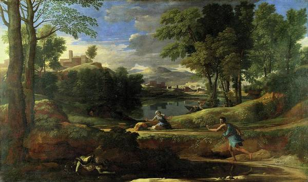 Painting - Landscape With Man Killed By A Snake by Nicolas Poussin