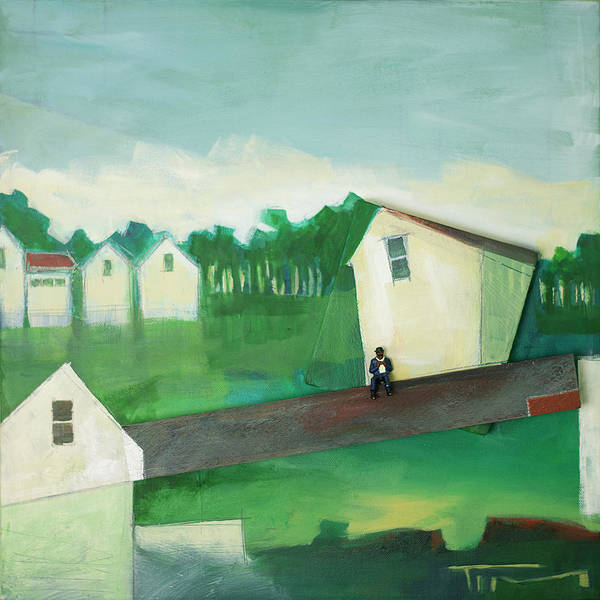 Painting - Landscape With Man On Lath by Tim Nyberg