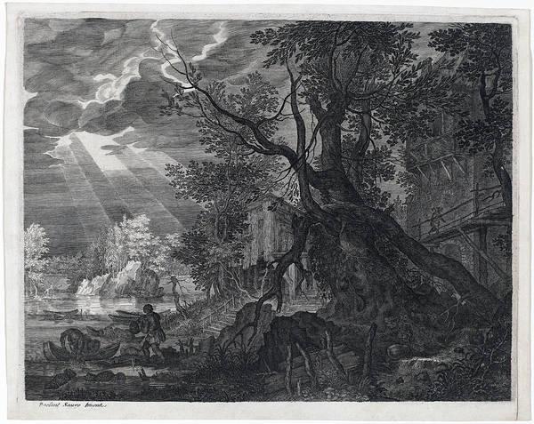 Drawing -  Landscape With Men Fishing By Moonlight by Aegidius Sadeler II