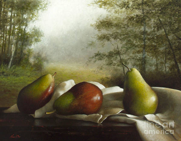 Wall Art - Painting - Landscape With Pears by Lawrence Preston