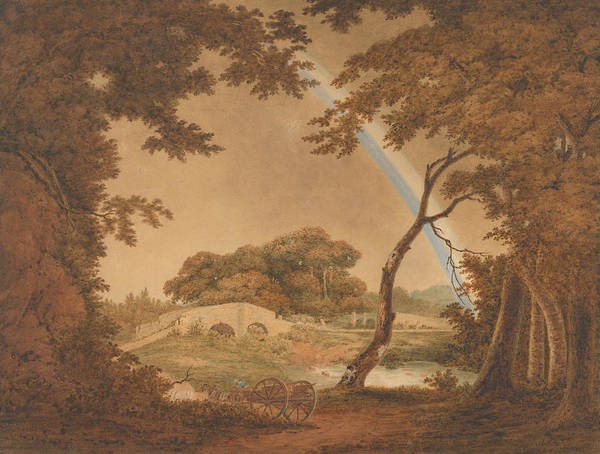 Painting - Landscape With Rainbow, View Near Chesterfield by Joseph Wright