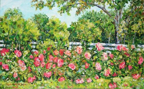 Painting - Landscape With Roses Fence by Ingrid Dohm