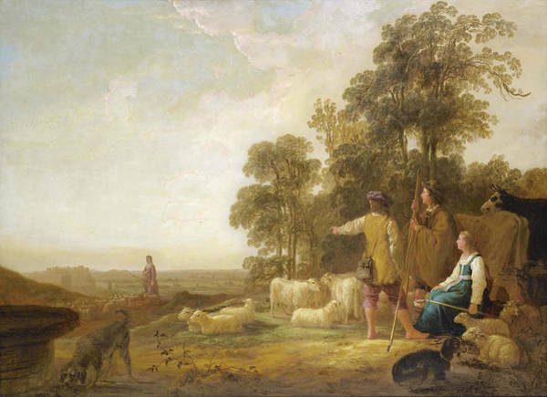 Cuyp Wall Art - Painting - Landscape With Shepherds And Shepherdesses Near A Well by Aelbert Cuyp