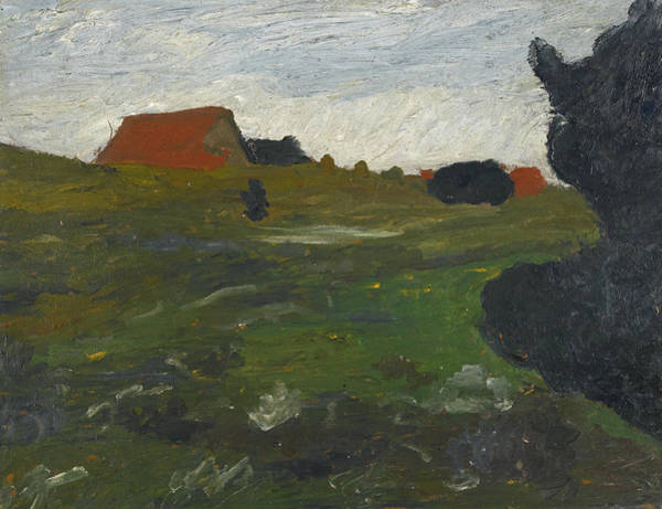 Paula Wall Art - Painting - Landscape With Shrubs And Red Houses by Paula Modersohn-Becker