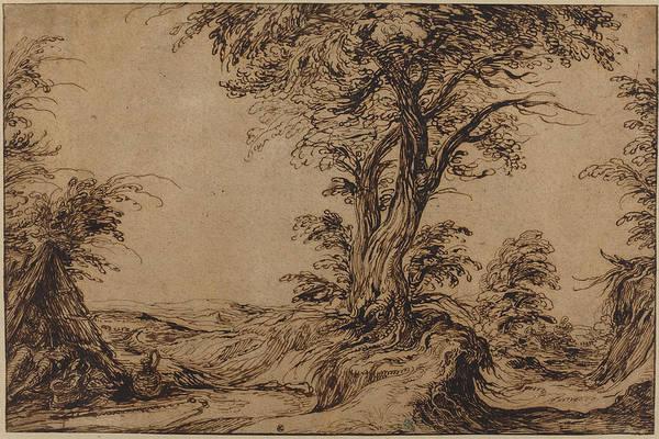 Wall Art - Drawing - Landscape With Sleeping Peasants by Jacques De Gheyn Ii