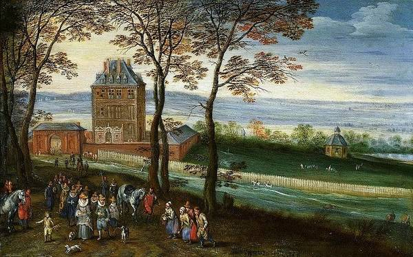 Park Bench Digital Art - Landscape With The Castle Mariemont Hainaut With The Foreground Archducal Couple Albert And Isabella Jan Brueghel The Elder by Eloisa Mannion