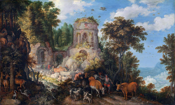 Painting -  Landscape With The Flight Into Egypt by Roelandt Savery
