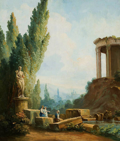 Wall Art - Painting - Landscape With The Ruins Of The Temple Of The Sibyl At Tivoli by Hubert Robert