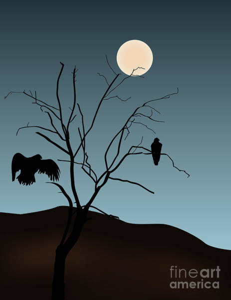 Digital Art - Landscape With Tree Vultures And Moon by David Gordon