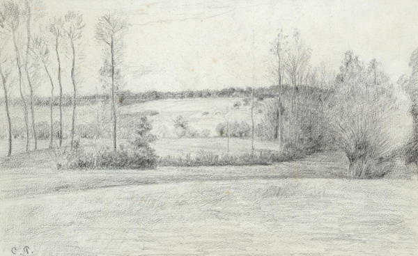 Wall Art - Drawing - Landscape With Trees by Camille Pissarro