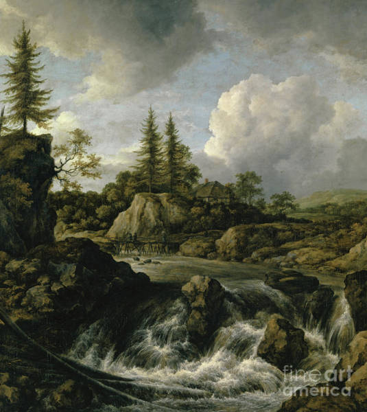 Wall Art - Painting - Landscape With Waterfall by Jacob Salomonsz Ruysdael