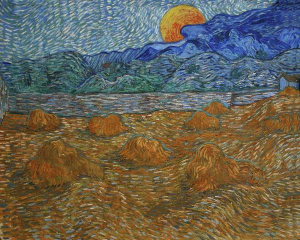 Wall Art - Painting - Landscape With Wheat Sheaves And Rising Moon 1889 by Vincent Van Gogh