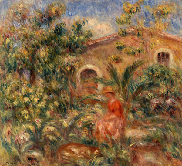 Elegant Dog Painting - Landscape With Woman And Dog by Pierre-Auguste Renoir