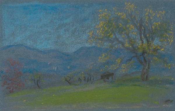 Pastel - Landscape With Yellow Tree by Arthur Bowen Davies