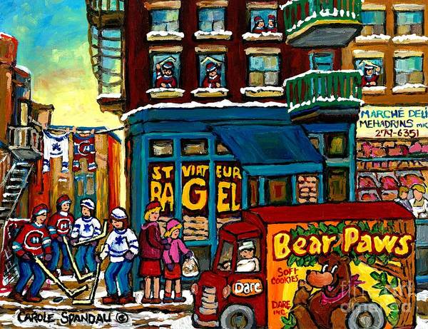Painting - Laneway Hockey Game Winter In The City St Viateur Montreal Street Scene Dare's Cookies Truck         by Carole Spandau