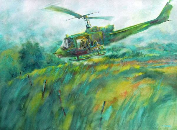 Helicopter Painting - Lang Vei Liftoff by Virgil Carter