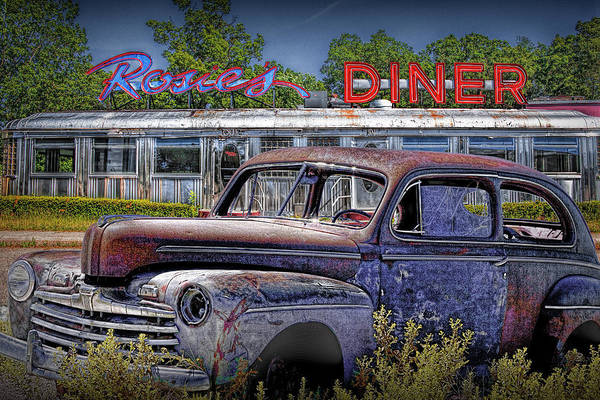 Photograph - Languishing Vintage Automobile By Historic Rosie's Diner by Randall Nyhof