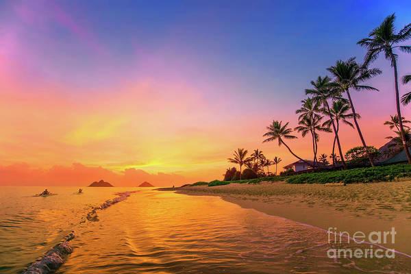 Lanikai Beach Canoes At Sunrise Art Print
