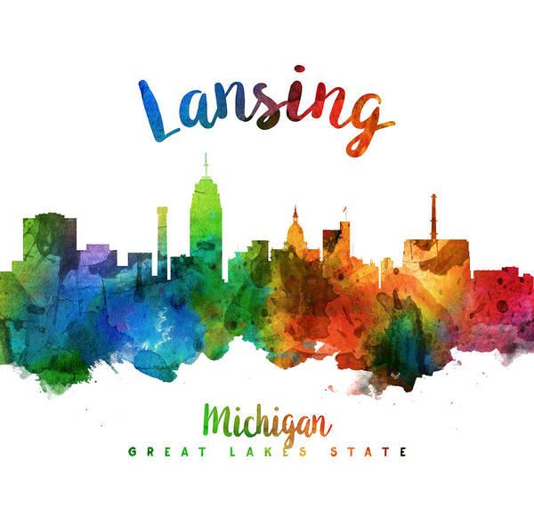 Wall Art - Painting - Lansing Michigan Skyline 25 by Aged Pixel
