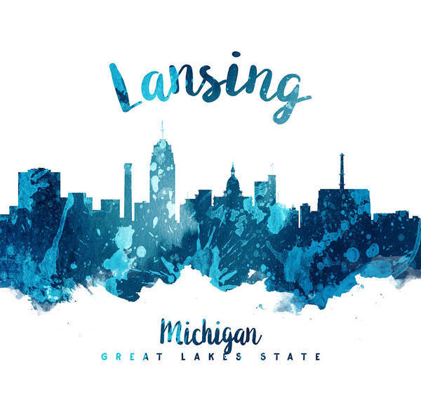 Wall Art - Painting - Lansing Michigan Skyline 27 by Aged Pixel