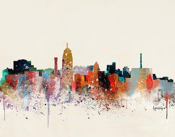 Wall Art - Painting - Lansing Skyline by Bri Buckley
