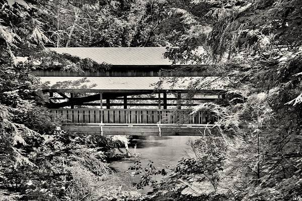 Photograph - Lanterman's Mill Covered Bridge Black And White by Lisa Wooten