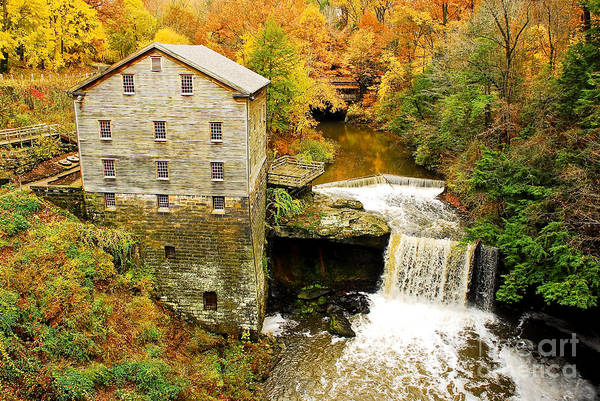 Grist Mill Photograph - Lantermans Mill In Fall by Tony  Bazidlo