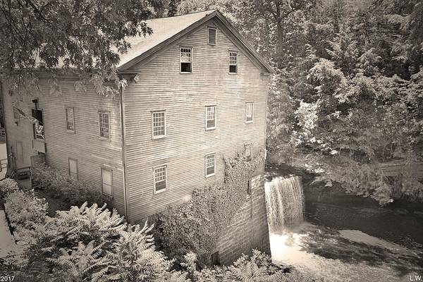 Photograph - Lanterman's Mill In Mill Creek Park Black And White by Lisa Wooten