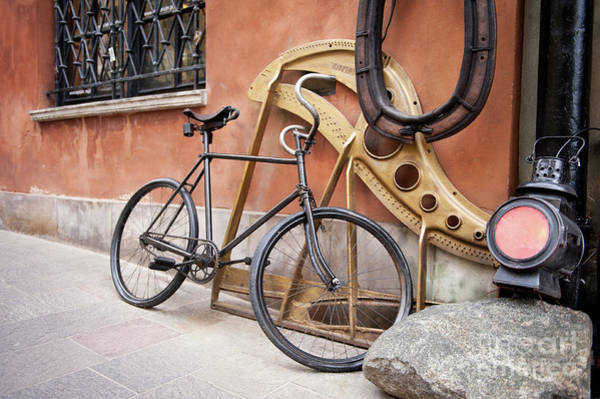 Wall Art - Photograph - Lantern And Old Black Cycle Parked by Arletta Cwalina