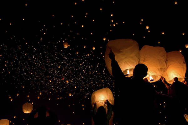 Photograph - Lantern Fest Group by Stephen Holst