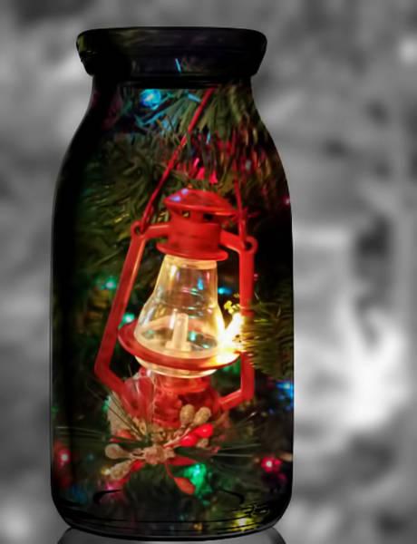 Mixed Media - Lantern In Glass Jar by Pamela Walton