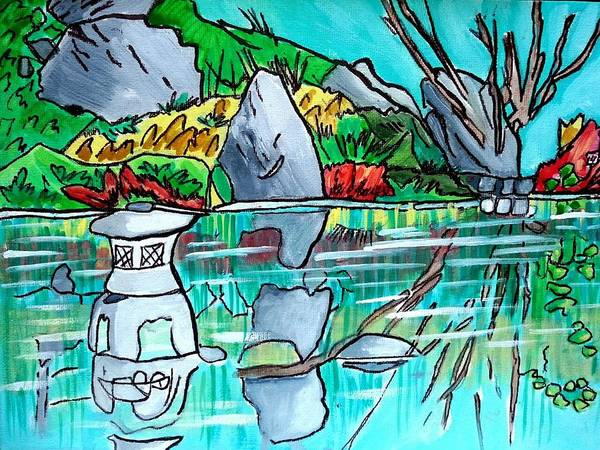 Painting - Lantern In Pond by Nikki Dalton