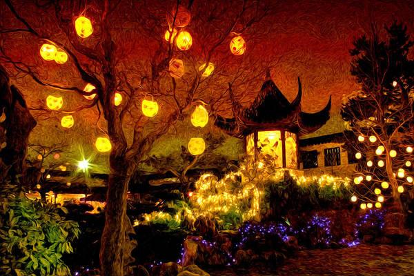 Wall Art - Photograph - Lanterns In Chinese Garden by Julius Reque