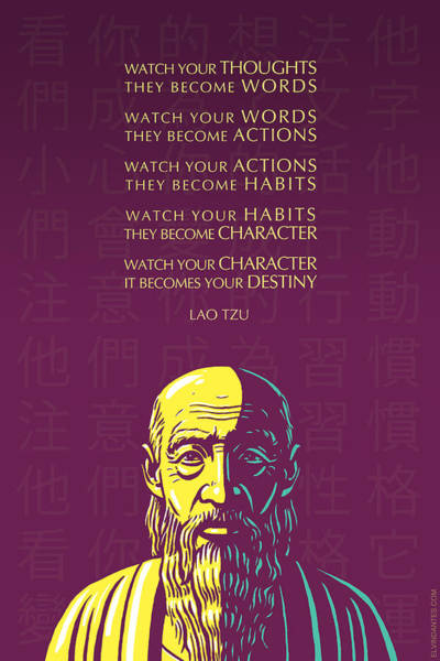 Philosopher Digital Art - Lao Tzu Quote-watch Your Thoughts by Elvin Dantes