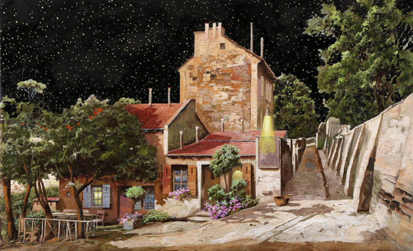 Starry Night Wall Art - Painting - Lapin Agile All'una Di Notte by Guido Borelli