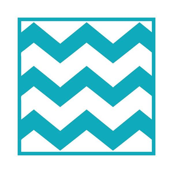 Robin's Egg Blue Digital Art - Large Chevron With Border In Robin's Egg Blue by Custom Home Fashions