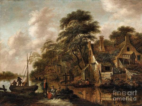 Farmstead Painting - Large Farmstead On The Bank Of A River by Celestial Images