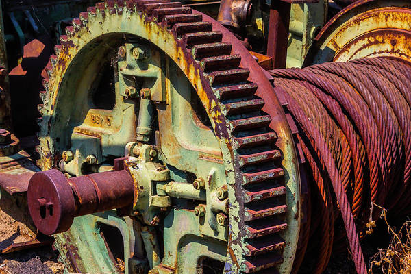 Bone Yard Wall Art - Photograph - Large Gear And Cable by Garry Gay