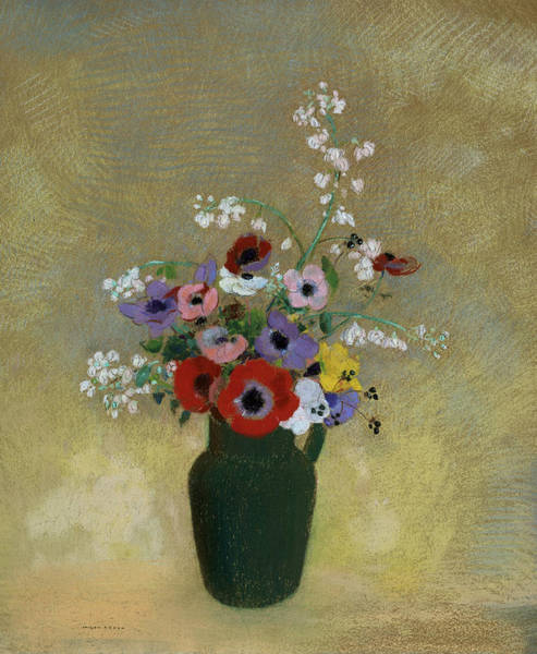 Pastel - Large Green Vase With Mixed Flowers by Odilon Redon