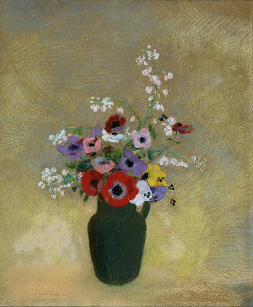 Painting - Large Green Vase With Mixed Flowers by Odilon Redon