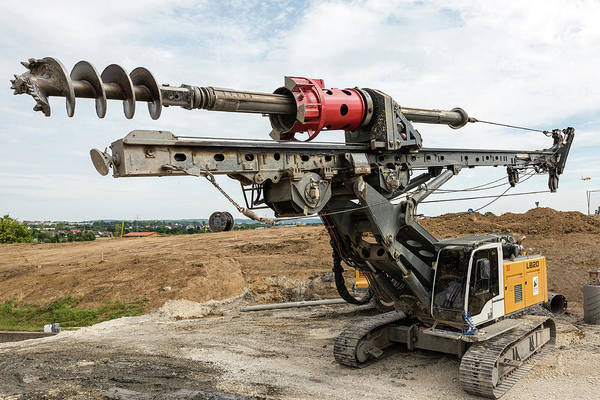 Bore Hole Wall Art - Photograph - Large Rotary Drill On Construction Site by Frank Gaertner