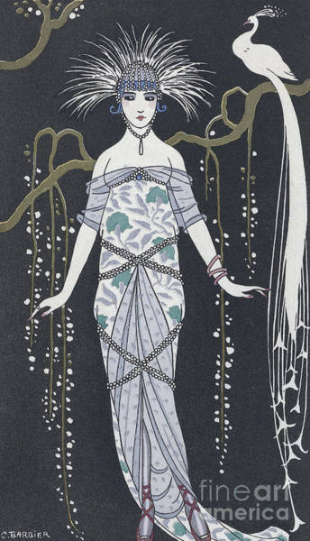 Peacock Drawing -  Large Silver Brocade Evening Dress by Georges Barbier