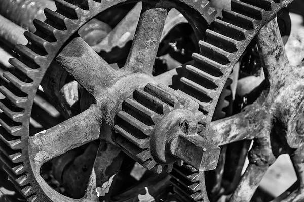 Deterioration Photograph - Large Trainyard Gears by Garry Gay