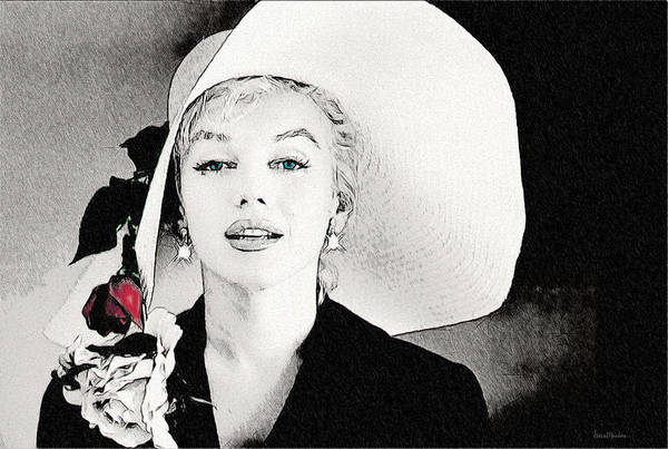 Large White Hat -marilyn Monroe  - Sketch Art Print
